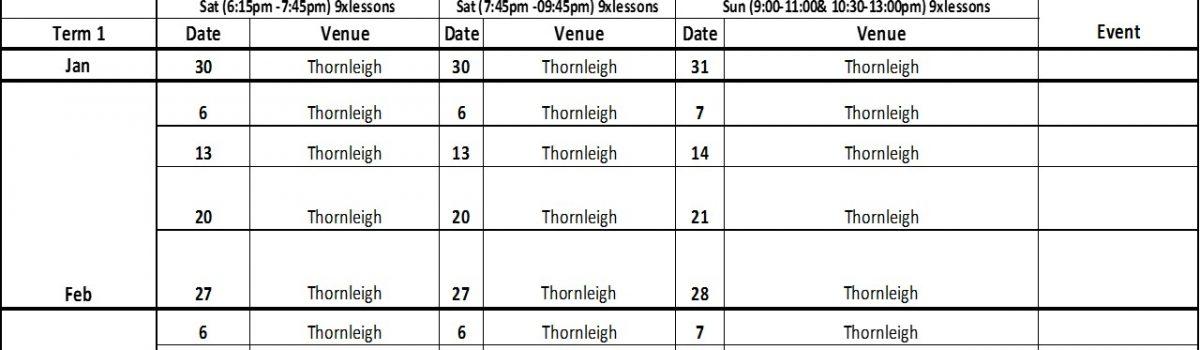 Dash Badminton 2021 Term 1 Training Time Table